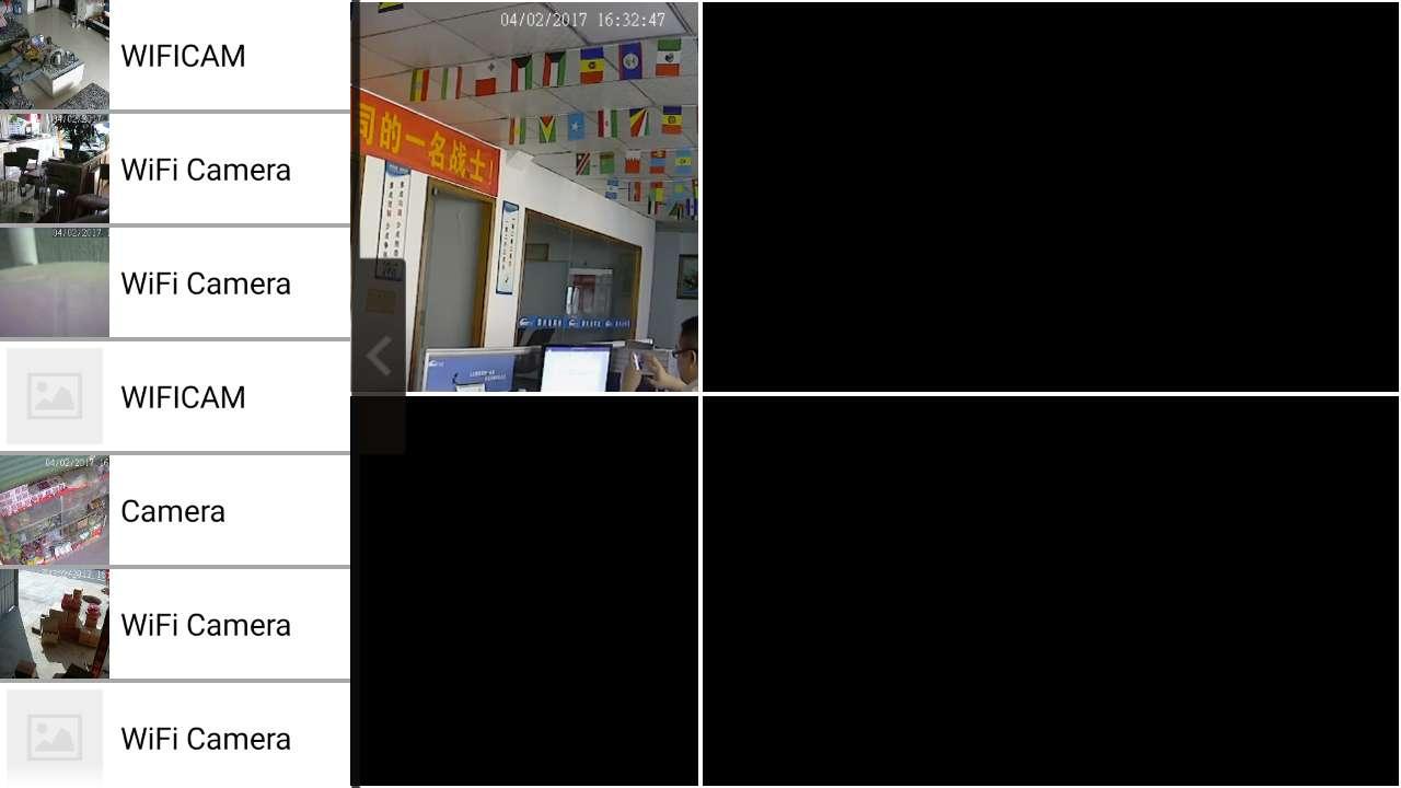 智能手机通过Netcam可以通过连接50台无线WIFI摄像机,可以同时单个画面和四个画面显示。很多人还不知道怎么去设置四画面观看,下面慧星监控小编给您详细说明一下。 手机连上摄像机以后,先点一个在线的机器让画面在手机上显示出来,再点一下屏可以看到如下图画面,出现有菜单项。  上图页面中看到左边有一个有箭头按钮,点开下入到下图画面。  屏上左边的是手机连上的设备菜单(设备多的话,可以上下拉动),右边显示出四个面面,第一个是刚才点开的设备,另外三个黑色的是还没有添加上去。可以在左右菜单中添加您想看的设备。如下